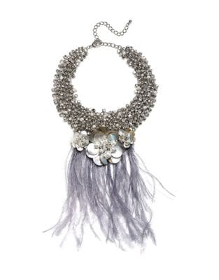 Pearl and Feather Statement Necklace