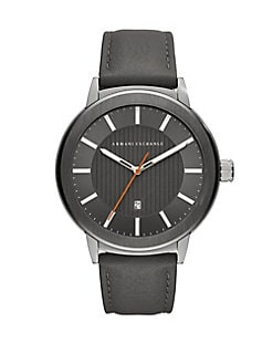 Product image. QUICK VIEW. Armani Exchange. Maddox Stainless Steel and Leather-Strap Watch