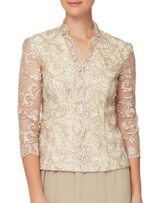 Quarter-Sleeve Embroidered Blouse 500088008553