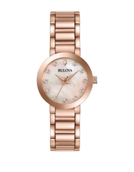 Classic Rose Goldtone & Sand Leather Strap Watch by Bulova