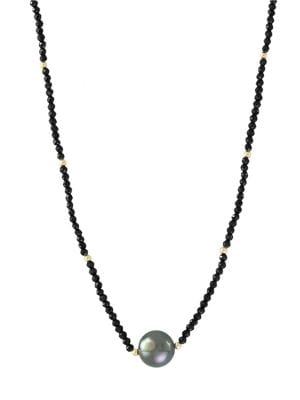 10MM Black Tahitian Pearl Pendant, Black Spinel, 14K Yellow Gold Necklace