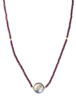 10MM Black Tahitian Pearl Pendant, Garnet, 14K Yellow Gold Necklace