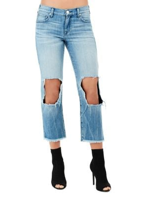 High-Rise Cotton Straight Cropped Jeans 500088039306