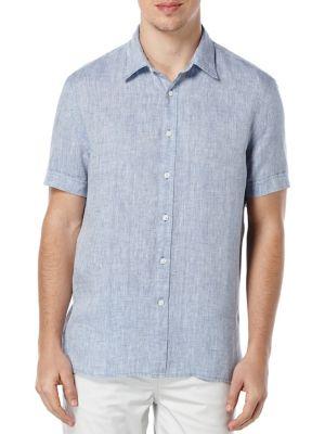 Short-Sleeve Linen Button-Down...
