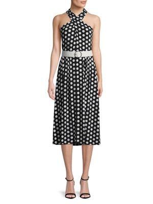 Petite Polka Dot Halterneck Dress 500088052727