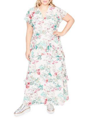 Plus Floral Print Ruffle Maxi Dress 500088055525