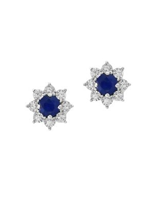 Royale Bleu Diamond, Natural Sapphire and 14K White Gold Stud Earrings