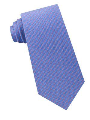 Mini Grid Silk Tie @...