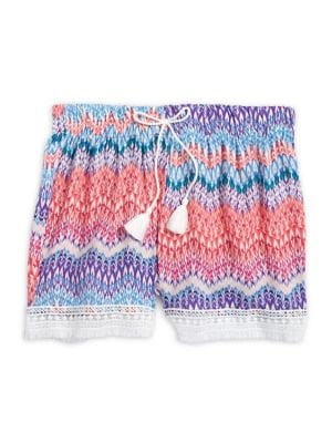 Girl's Printed Lace-Trimmed...