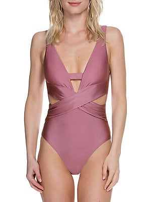 a5c0ae58b58dd Becca by Rebecca Virtue - Ballerina One-Piece Plunge Neck Swimsuit -  lordandtaylor.com