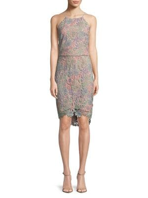 Adelyn Rae FLORAL LACE HALTER SHEATH DRESS