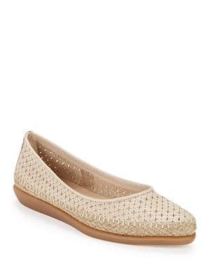 Torri Perforated Leather Flats by The Flexx
