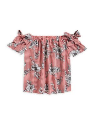 Girl's Floral Striped...