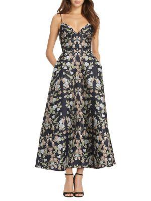 Tea Length Floral Dress 500088103153