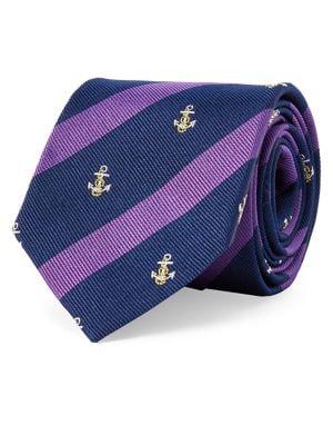 Striped Anchor Silk Tie...