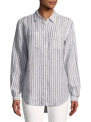 Striped Linen Button-Down...
