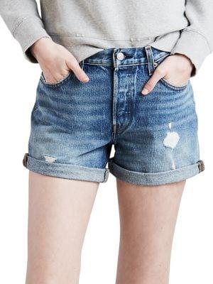 Distressed Denim Shorts 500088120780
