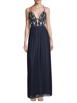 Image of Pleated Mesh Beaded Gown