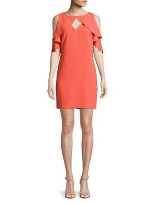Ruffle Cold-Shoulder Sheath Dress 500088161605