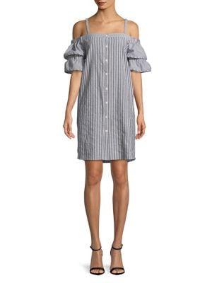 Stripe-Print Cold-Shoulder...