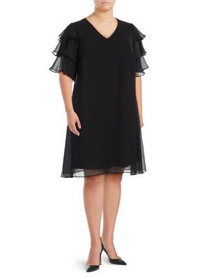 Plus V-Neck Shift Dress 500088172478
