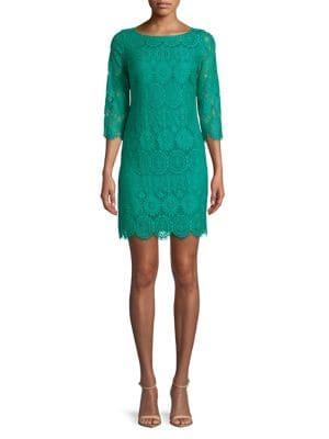 Plus Lace Shift Dress 500088172941