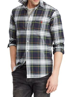 Classic-Fit Plaid Oxford...