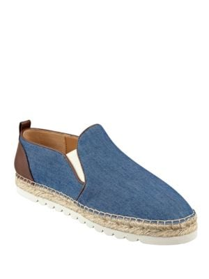Photo of Noney Leather-Trim Printed Canvas Espadrilles by Nine West - shop Nine West shoes sales