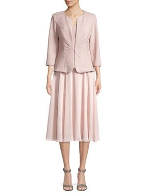 Tea-Length Dress with Tuck-Front Jacket 500088211147