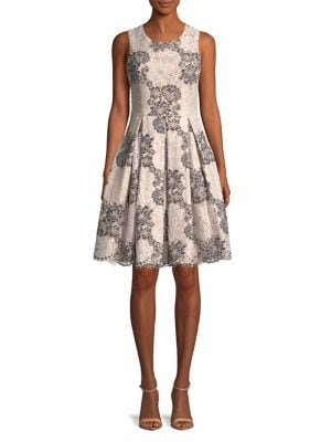 Pleated Floral Lace Fit-&-Flare Dress 500088213172