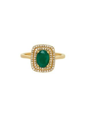Diamond, Emerald & 14K Yellow Gold Ring