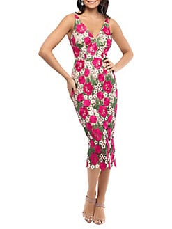 c9af247dbf24 Floral Lace Sheath Dress FUSCHIA NUDE. QUICK VIEW. Product image