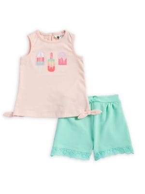 Baby Girl's Two Piece Ice Pop Tank Top and Lace-Trimmed Shorts Set 500088218560