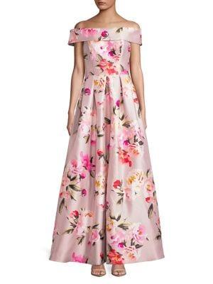 Off-Shoulder Foldover Floral A-Line Gown 500088230748