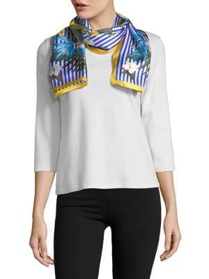 Striped Floral Silk Tie...