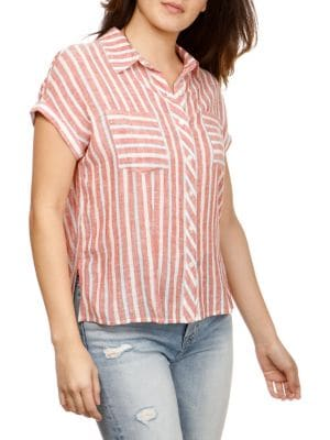 Short-Sleeve Striped...