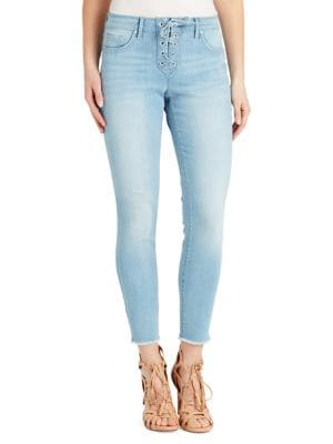 Lace-Up Mid-Rise Skinny Jeans 500088233026