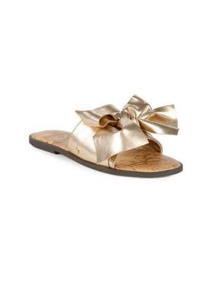 Girl's Gigi Metallic Bow Slides 500088239823