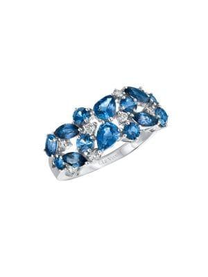 Image of Blueberry Sapphire, Cornflower Ceylon Sapphire and 14K Vanilla Gold Ring