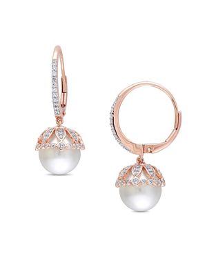 Image of Freshwater Cultured Pearl, 0.5 TCW Diamond & 14K Rose Gold Vintage Earrings