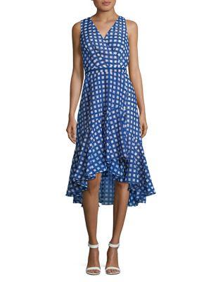 Checkered Hi-Lo Wrap Dress 500088260796