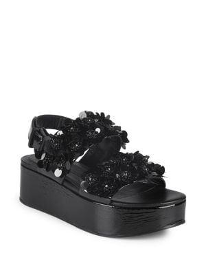 Kennel & Schmenger FLORAL APPLIQUE FLATFORM SANDALS
