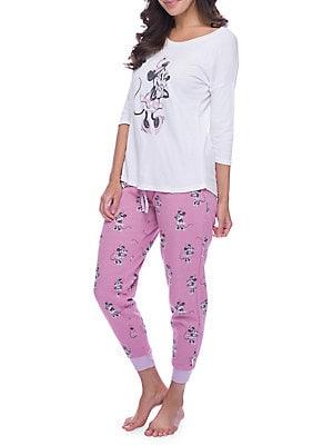 12fab33fe53111 Munki Munki - Mommy & Me Pajamas Women's Minnie Mouse Sparkle Fleece Jogger  Set
