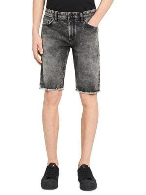 Washed Denim Shorts @...