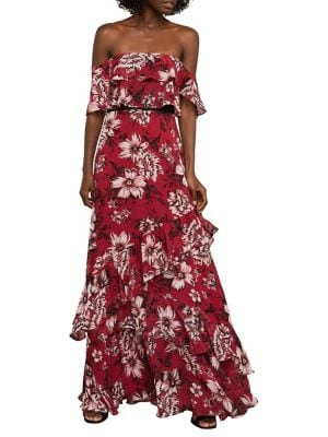 Off-The-Shoulder Festive Floral Maxi Dress 500088285455