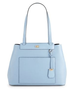 Michael Kors Meredith Medium Pebbled Leather Tote (Pale Blue)