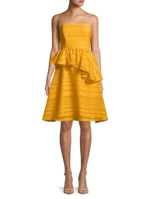 Strapless Ruffle Fit-and-Flare Dress 500088294882