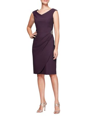 Wrap-Skirt Beaded Sheath Dress 500088295313