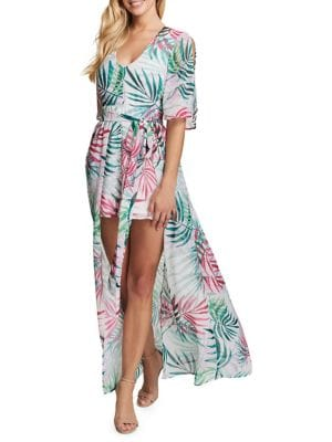 Palm Tree-Print Hi-Lo Maxi Dress 500088295382