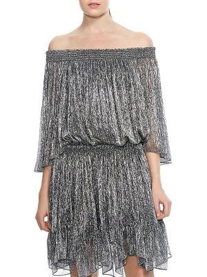 Smocked Off-The-Shoulder Party Dress 500088295661